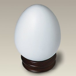 "3.5"" Bisque Egg with Wood Base"