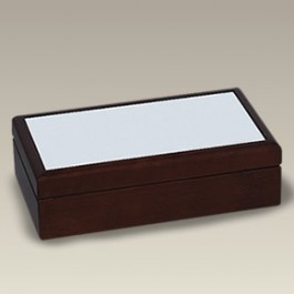 "8.5"" Rectangular Wood Box with Tile Lid"