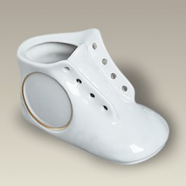"4.75"" Baby Shoe with Gold Banded Recessed Area"