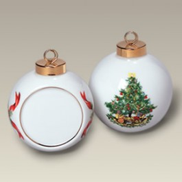 "2.5"" Christmas Tree Ball Ornament with Flat Side"