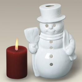"5.25"" Snowman Candle Holder"