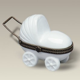 "4"" Baby Carriage Hinged Box"