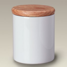 "5.25"" Ceramic Canister with Wood Lid"