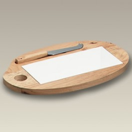 "12.75"" Wood Cheese Board with Tile and Knife"