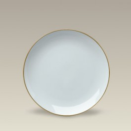 """7.5"""" Gold Banded Porcelain Coupe Plate"""