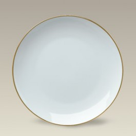 "8.25"" Gold Banded Porcelain Coupe Plate"