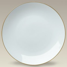 "10.5"" Gold Banded Porcelain Coupe Plate"