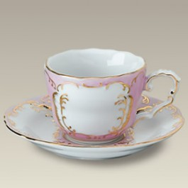 5 oz. Pink and Gold Cup and Saucer