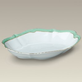 """12.5"""" Green and Gold Scalloped Bowl"""
