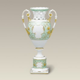 """10.5"""" Green and Gold Two Piece Vase"""