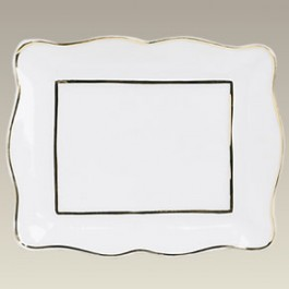Gold Banded Rectangle Plaque, 5.38""