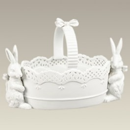Oval Basket w/ Two Rabbits, 11""