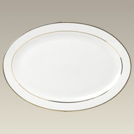"14"" Double Gold Band Oval Platter"