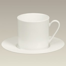 Cream Colored Cup & Saucer, 7 oz