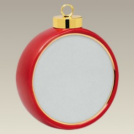 Red Drum Shape Ornament w/ Gold Trim, 2.875""