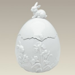 """Egg Shape Box with Embossed Rabbits, 8"""""""