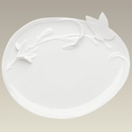 Cream Butterfly Motif Oval Plate, 10""