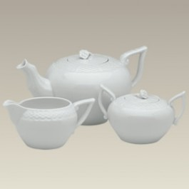 Basket Weave Pattern  3 pc Tea Set