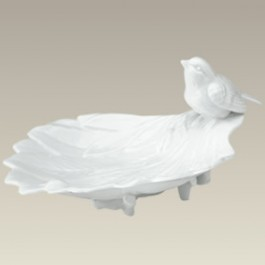 Leaf Candy Dish with Attached Birds, 8.25""