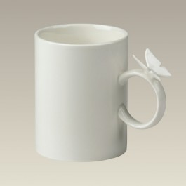 Butterfly Handle Cream Colored Mug, 14 oz
