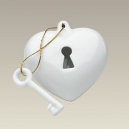 Heart with Key Ornament, 3""