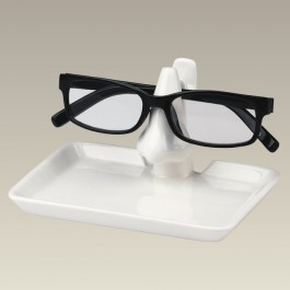 "Cream Eyeglass Holder with Tray, 5.5"" x 4"""