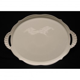 "Lindner Scalloped Tray with Handles, 15.25"" x 11"""
