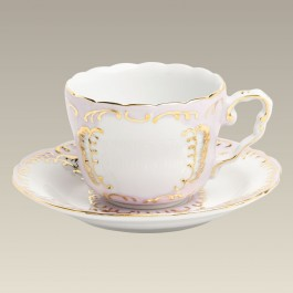 8 oz. Pink and Gold Cup and Saucer
