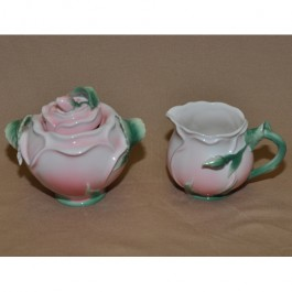 Rose Decorated Sugar & Creamer