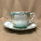 8 oz. Green and Gold Cup and Saucer