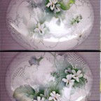 White Violets on an Oval Box by Celee Evans