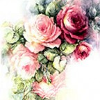 Pink and Ruby Roses by Sonie Ames