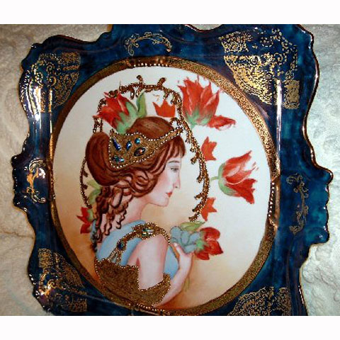 Woman on tray