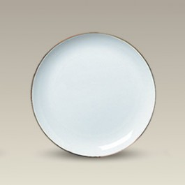 """7.75"""" Porcelain Gold Banded Coupe Plate"""