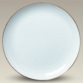 """10.25"""" Porcelain Gold Trimmed Coupe Plate"""