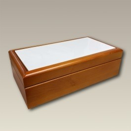 "8.5"" Rectangular Wood Box with Tile Lid, SELECTED SECONDS"