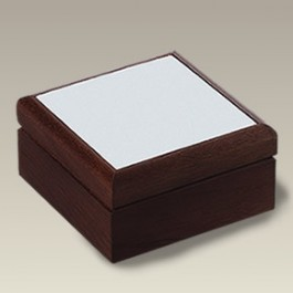 "5"" Square Wood Box with Tile Lid, SELECTED SECONDS"