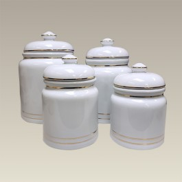 Set of 4 Ceramic Canisters, GOLD BANDED