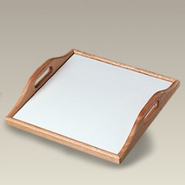 """12.75"""" Square Wood Tray with Ceramic Tile"""