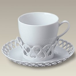 6 oz. Cup and Openwork Heart Saucer Set