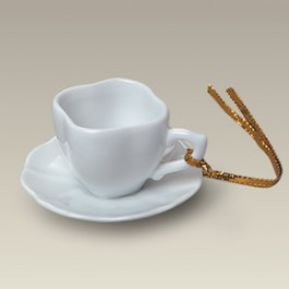 """2.75"""" Limoges Style Cup and Saucer Ornament"""