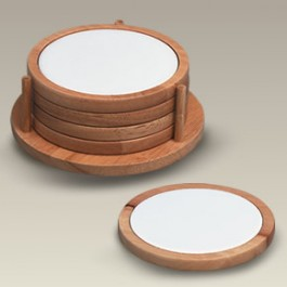 Wood and Ceramic Coasters, Set of 4