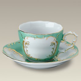 5 oz. Green and Gold Cup and Saucer
