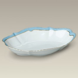 "12.5"" Blue and Gold Scalloped Bowl"