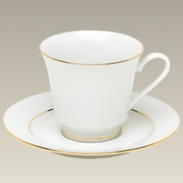 Gold Banded Cup & Saucer, 8 oz, SELECTED SECONDS