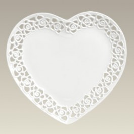 """Heart Shape Plate w/ Openwork, 10.5"""", SELECTED SECONDS"""