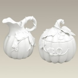 Pumpkin Shape Sugar & Creamer, 4.75""