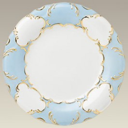 """10.5"""" Blue & Gold Scrolled Plate"""