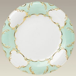 """10.5"""" Green & Gold Scrolled Plate"""