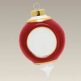 "Ceramic Victorian Red & Gold Ornament w/ 1.75"" Recess, 4"""